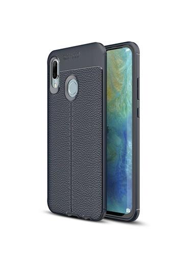 Microsonic Huawei P Smart 2019 Kılıf Deri Dokulu Silikon  Lacivert